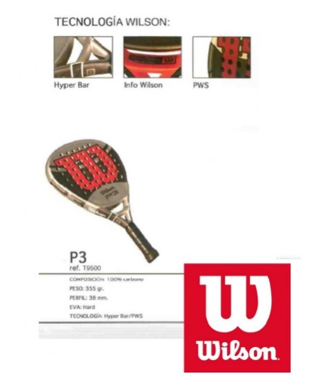 PALA PADEL WILSON P3 100% CARBON 355GR 38mm hard