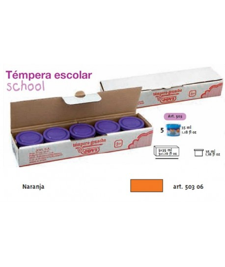 TEMPERA ESCOLAR 5UDSX35ML JOVI COLOR NARANJA