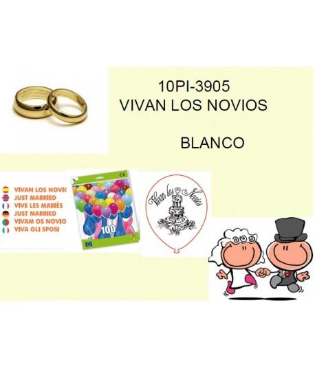 GLOBOS VIVAN LOS NOVIOS BLANCO