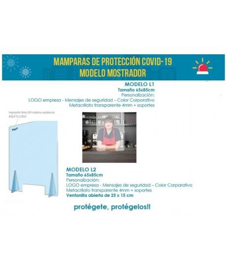 MAMPARA DE PROTECCION COVID-19 TAMAÑO 65X85CM CON VENTANAS ABIERTAS 25X15 CM
