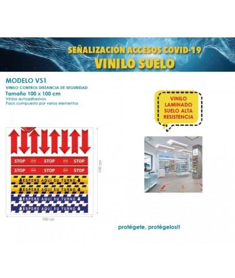 SEÑALIZACION ACCESOS COVID-19 VINILO SUELO PACK COMPUESTO POR VARIOS ELEMENTOS TAMAÑO 100X100CM